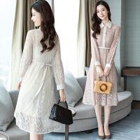 蕾丝连衣裙长袖女2018春装新款韩版修身镂空内搭拼接打底裙子