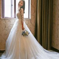 婚纱礼服2018新款春夏季新娘结婚齐地长拖尾一字肩韩式长袖女
