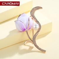 饰品气质玫瑰花复古人造珍珠胸针女简约徽章配饰