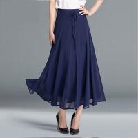 半身长裙女夏白色半身裙女长裙百褶高腰大码大摆裙