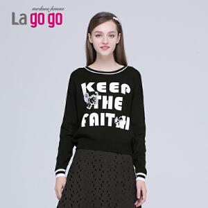 lagogo圆领套头针织衫女打底衫秋冬女装韩版圆领长袖上衣毛衣