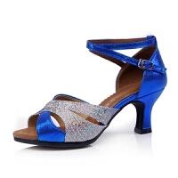 拉丁舞鞋女式成人中跟高跟舞蹈鞋夏季跳舞女鞋广场舞凉鞋交谊摩登