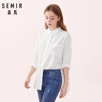 60森马长袖衬衫女春季新款白色衬衣学生小清新宽松显瘦上衣潮流