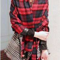 披肩围巾 秋冬季双面格子流苏两用 加厚加大 新款仿羊绒围巾女