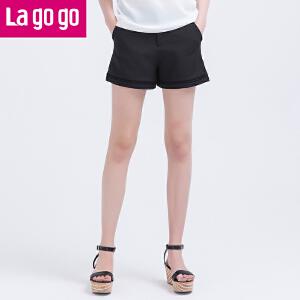 Lagogo/拉谷谷夏季新款纯黑韩版甜美阔腿裤休闲短裤女夏高腰