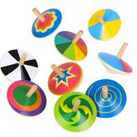 9个装小陀螺手转手动旋转木质木制礼物男孩子女孩儿童玩具