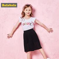 巴拉巴拉童装女童套装小童宝宝儿童两件套夏装新款T恤短裤薄