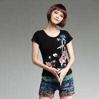 中国风女装上衣 夏季新款民族风绣花短袖打底衫圆领棉短款刺绣T恤