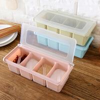 翻盖塑料调味盒罐瓶调料盒子套装家用组合装盐罐配勺厨房用品野炊烧烤