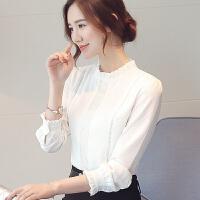 OL气质白衬衫女雪纺2018春装新款小衫韩版立领长袖修身打底衫上衣 白色