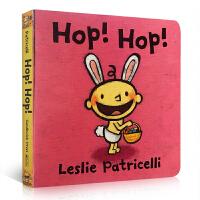 【全店300减100】英文原版 Leslie Patricelli: Hop! Hop! 纸板书:复活节跳跳兔 玩转颜色