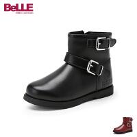 百丽Belle童鞋18冬季新款简约时尚女童靴子加绒保暖质感牛皮靴时尚扣式短靴(5-15岁可选)DE0823