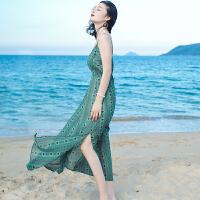 20180402220934566夏季新品女装绿色吊带雪纺长裙连衣裙波西米亚海边度假沙滩裙 图片色 AQA639