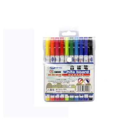 中柏白板笔可擦儿童可加墨水黑板笔水性可擦记号笔 SW600 10色套装