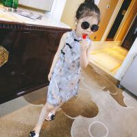女童旗袍连衣裙2018夏装新款儿童唐装裙子复古中国风女孩雪纺裙子