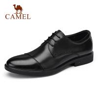 骆驼男鞋2019新款商务正装软牛皮皮鞋三接头系带舒适青年皮鞋