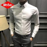 Lee Cooper2020新款修身衬衫男青年长袖商务正装免烫打底春季男士衬衣