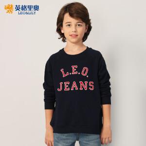 童装男童圆领套头卫衣2018中大儿童藏青色印花长袖打底衫8-12岁