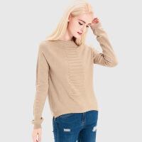 艾尔玛2017秋款长袖坑条毛衣女 欧美宽松套头毛衫