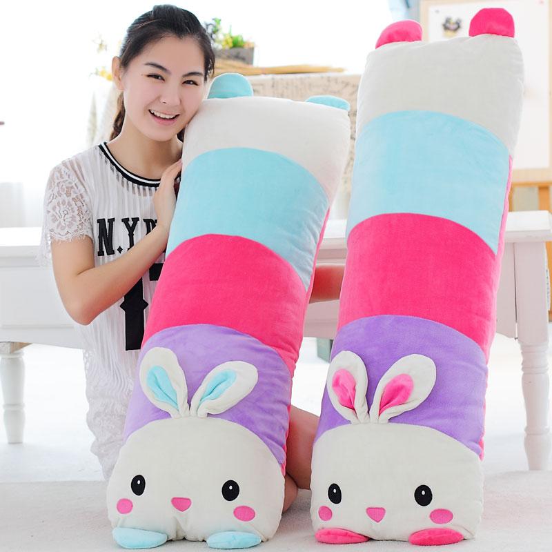 可拆洗趴趴兔子熊猫公仔睡觉抱枕毛绒玩具兔兔单双人枕头生日礼物
