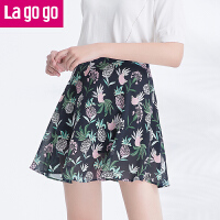 Lagogo2017夏季新款时尚百搭雪纺A字裙印花高腰半身裙女短裙子!