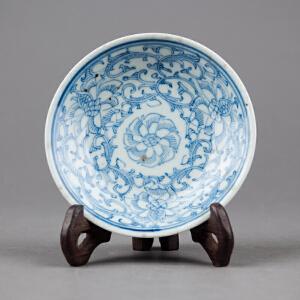 V324  清《旧藏青花勾莲小盘》北京文物公司旧藏,胎质细密厚重,手工绘制纹样精妙绝伦,年代感十足。