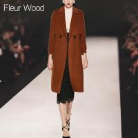 FLEUR WOOD2017秋冬装新款女欧美气质宽松中长款呢子大衣毛呢外套