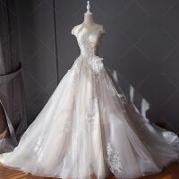 婚纱礼服新娘2018新款韩式结婚白色宫廷长拖尾优雅公主大码女 拖尾款