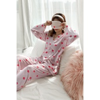 【内衣优选】【送眼罩】韩版日系和服长袖长裤薄款卡通草莓睡衣女甜美性感套装绑带柔软女式家居服睡衣二件套 油画草莓 X