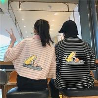 2018潮流情侣装短袖T恤夏新款条纹后背咪图案宽松POLO衫半袖打底