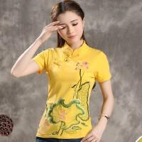 中国风女装旗袍上衣短袖T恤夏装新款民族风复古盘扣刺绣花T恤