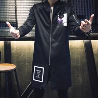 新款风衣修身韩版男士个性中长款外套男装夜店印花潮流秋季