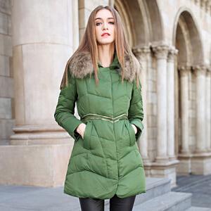 雅鹿时尚保暖大毛领冬装外套 韩版宽松大码修身中长款羽绒服女