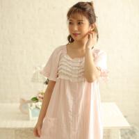 2018新款夏季睡衣女日系蕾丝条纹可爱睡裙纯棉纱布薄款方领短袖家居裙