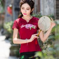 民族风女夏季上衣 中国风女装蕾丝拼接刺绣花修身短袖T恤女打底衫