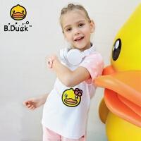 【4折价:87.6】B.Duck小黄鸭童装女童短袖T恤新款儿童夏装宝宝半袖潮打底衫BF2001951