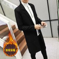 秋季男装披风韩版大衣时尚潮流青少年薄款外套男士修身中长款风衣 加绒