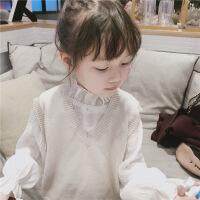 女童装2018秋装新款 儿童韩版休闲纯色V领针织毛线马甲小背心坎肩 米白V领毛线背心