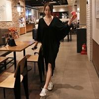2018蝙蝠袖不规则莫代尔T恤连衣裙韩版大码宽松黑色V领短袖长裙女 黑色 均码