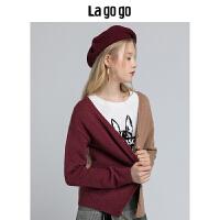 Lagogo/拉谷谷2018冬季新款时尚拼色针织衫HCMM839A24