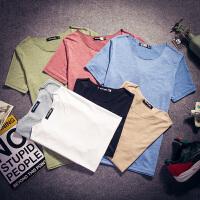 夏季纯色风短袖T恤男圆领薄款糖果色上衣