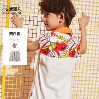小虎宝儿男童套装2020新款儿童背心纯棉两件套中大童夏季洋气潮衣