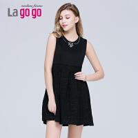 【每满200减100】lagogo2015冬季新款无袖高腰圆领拼接连衣裙