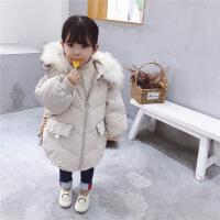 女童羽绒服中长款加厚2018新款韩版洋气宝宝冬装大毛领外套