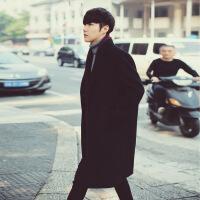 冬季新款中长款男装风衣男青年休闲毛呢料宽松韩版呢子大衣外套潮