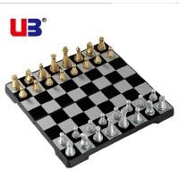 UB友邦儿童培训小号金银黑白棋子国际象棋磁性折叠圆角款益智