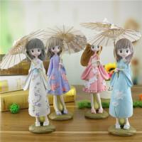 大号和服女孩打伞摆件 创意家居装饰学生礼品 树脂工艺品一件