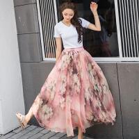 复古印花雪纺半身裙长裙夏季高腰度假沙滩裙中长款大摆裙子仙女裙