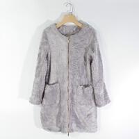 CA0841精品秋冬新款圆领拉链显瘦百搭女纯色毛毛直筒中长外套