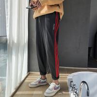 潮流男士运动休闲裤2018春秋新款宽松卫裤男士哈伦裤子撞色条纹裤